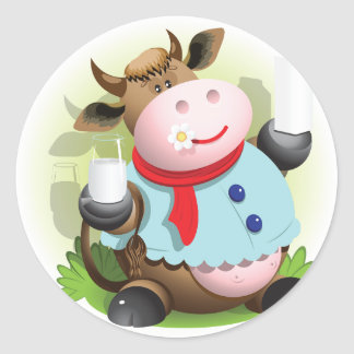 Cow Holding A Glass Of Milk Stickers