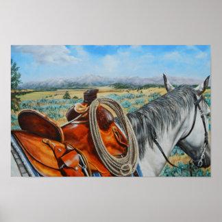 Cow horse, saddle, cowboy, mountain landscape poster