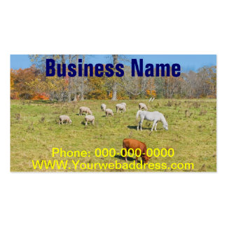 Cow Horse Sheep Grazing On Grass in Farm Field Business Card