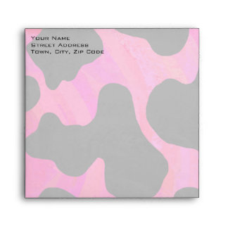 Cow Hot Pink and Black Print Envelopes