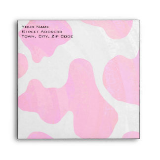 Cow Hot Pink and White Print Envelopes