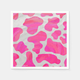 Cow Hot Pink and White Print Napkin