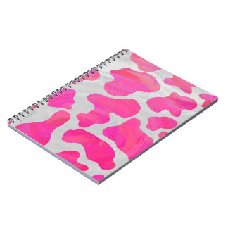 Cow Hot Pink and White Print Spiral Notebook