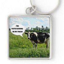 Cow Humor Keychain