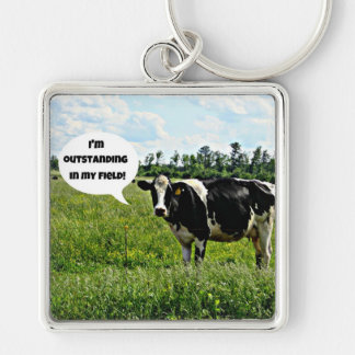 Cow Humor Silver-Colored Square Keychain