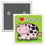Cow I love grass Pinback Button