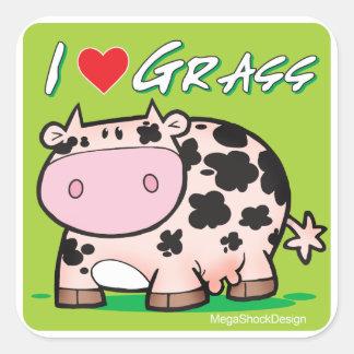Cow I love grass Square Stickers