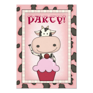 "Cow - Ice Cream & Ice Skating Party 5"" X 7"" Invitation Card"