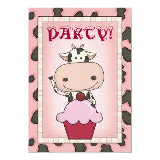 "Cow - Ice Cream & Ice Skating Party 5"" X 7"" Invitation Card"