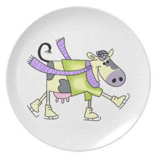 COW ICE SKATING DINNER PLATE