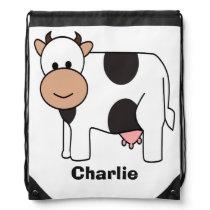 Cow illustration custom name kid's backpack