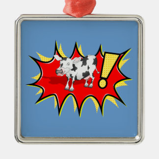 Cow in a KAPOW starburst Christmas Ornaments