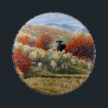 """Cow in Fall Setting Candy Tin<br><div class=""""desc"""">From the Carol Zirkle painting called &quot;First to the Party. We saw this Mama cow coming through the brush one day. She stopped to give us the &quot;once over&quot;. The pretty red bushes and the sunlit rabbit brush made it look like a catered event!! Awesome!!!</div>"""