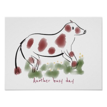 Professional Business Cow in Field | Another Busy Day Poster