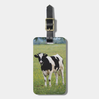 Cow in field of Wildflowers Tag For Luggage