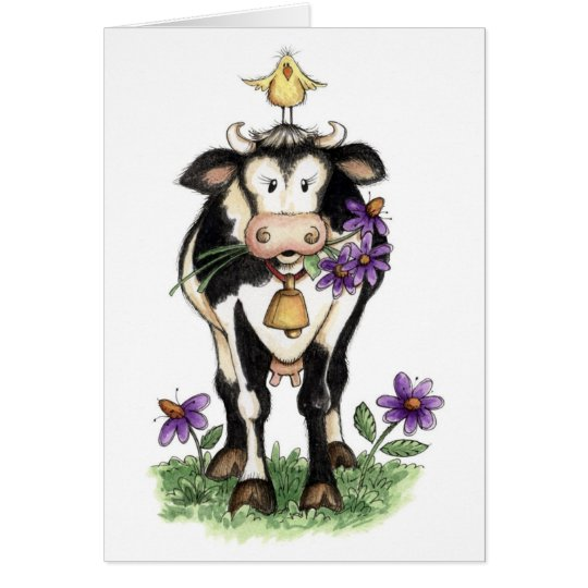Cow in Flowers - Note Card