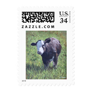 Cow in grass postage stamps