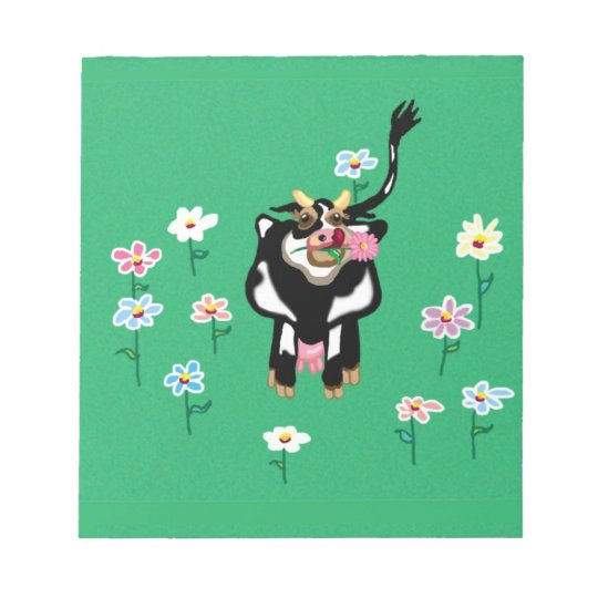 Cow in green pastures with flowers notepad