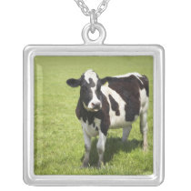 Cow in meadow silver plated necklace