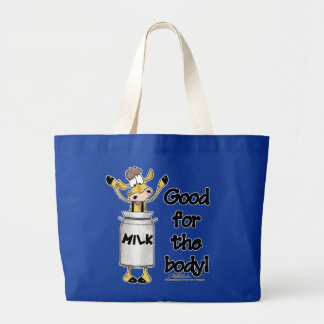 Cow in Milk Can Large Tote Bag