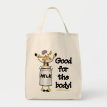 Cow in Milk Can Tote Bag