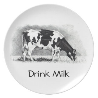 Cow In Pencil: Drink Milk: Holstein: Farm, Dairy Party Plates