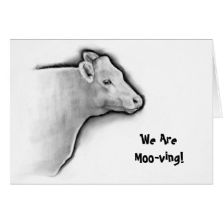 Cow in Pencil, Moving Announcement: Moo-ving Greeting Card