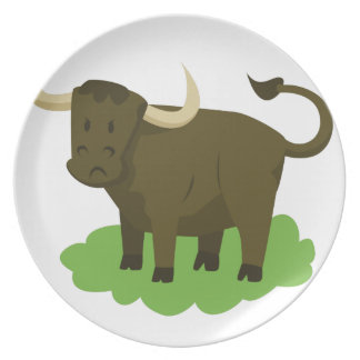cow in the grass dinner plate