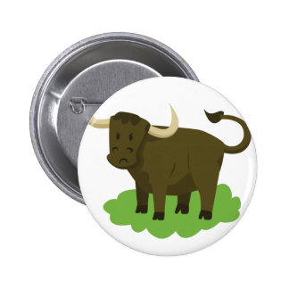 cow in the grass pinback button