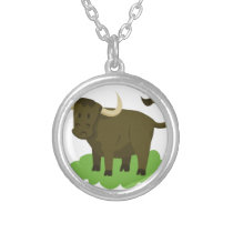 cow in the grass silver plated necklace