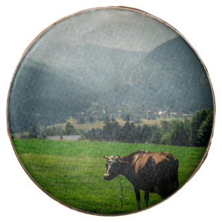 Cow In The Mountains Nature Landscape Photo Chocolate Dipped Oreo