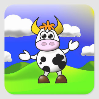 Cow is Here Square Sticker