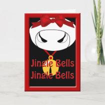 Cow Jingle Bell Christmas Greeting Holiday Card