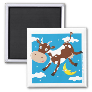"""Cow Jumped Over the Moon"" 2 Inch Square Magnet"