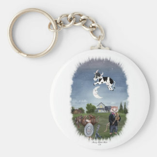 COW JUMPED OVER THE MOON BASIC ROUND BUTTON KEYCHAIN