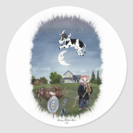 COW JUMPED OVER THE MOON CLASSIC ROUND STICKER