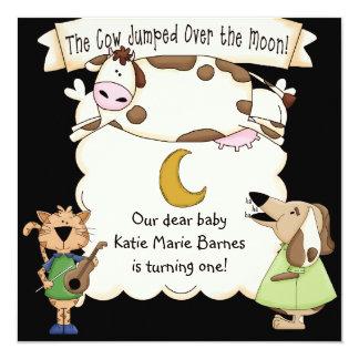 "Cow Jumped Over the Moon Custom Birthday Invites 5.25"" Square Invitation Card"