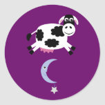Cow Jumped Over The Moon Customizable Purple Round Stickers