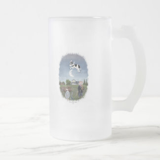 COW JUMPED OVER THE MOON FROSTED GLASS BEER MUG