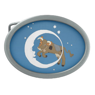Cow Jumped Over the Moon Oval Belt Buckle