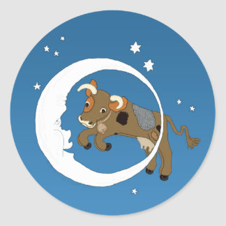 Cow Jumped Over the Moon Round Stickers