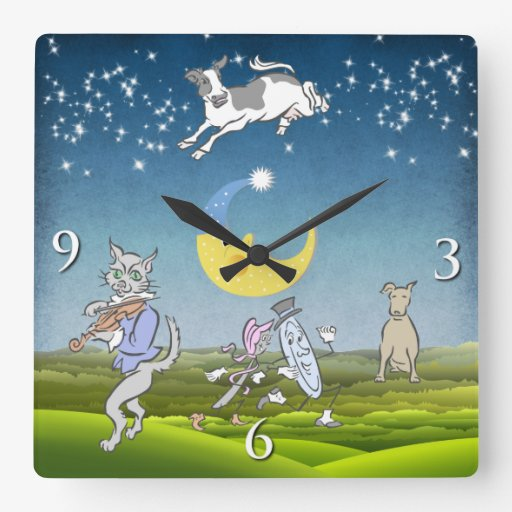 Cow Jumped Over The Moon Wall Clock (Blue)