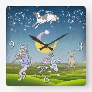 Cow Jumped Over The Moon Wall Clock (Pink)