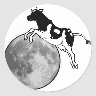 Cow Jumping over the Moon Classic Round Sticker