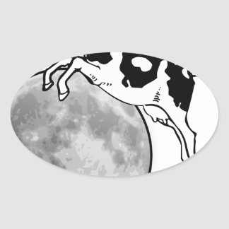Cow Jumping over the Moon Oval Sticker