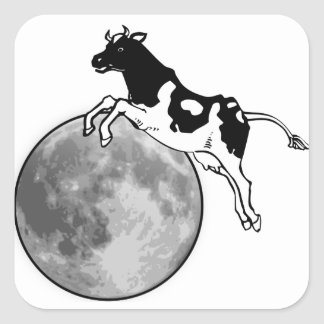 Cow Jumping over the Moon Square Sticker