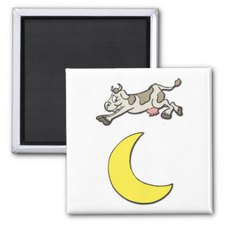 Cow Jumps Over the Moon 2 Inch Square Magnet