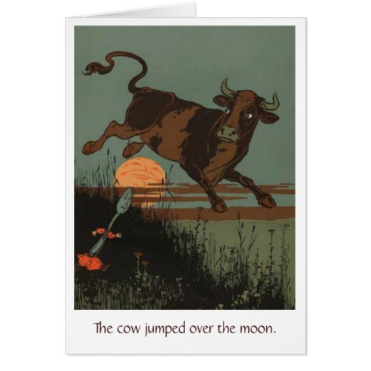 Cow Jumps Over the Moon, Greeting Card