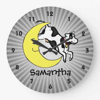 Cow Jumps Over the Moon Personalized Kids Clock