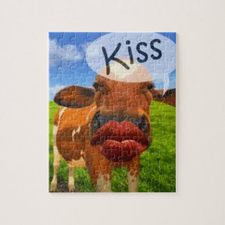Cow kiss! Cute and entertaining! Jigsaw Puzzles